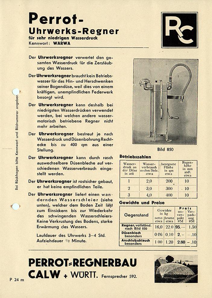 PERROT Katalogblatt